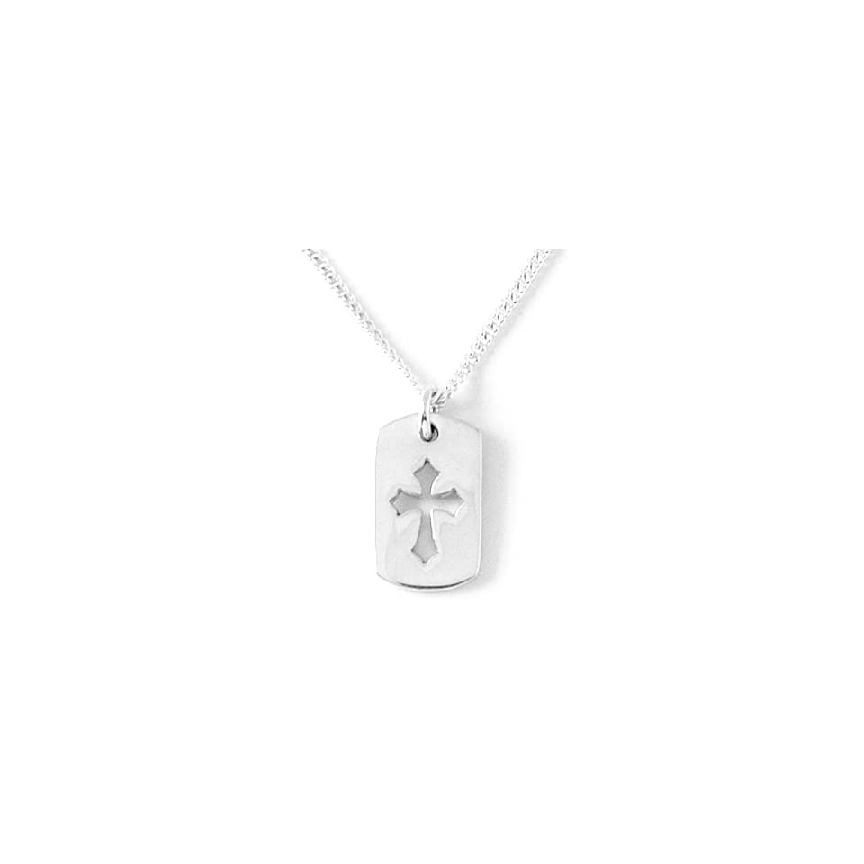 Sterling Silver Cross ID Tag Pendant by Bob Siemon, 18