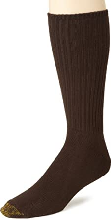 Gold Toe Men's Cotton Fluffie 3 Pack Extended Socks, Brown, Sock Size 13-15
