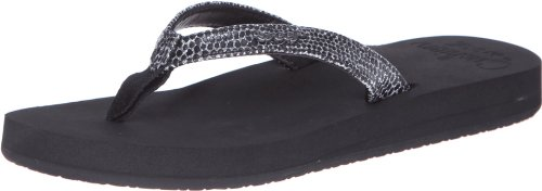 Reef Women's Star Cushion Sassy Flip Flop,Black/Silver,8 M US