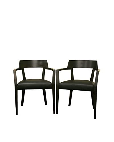 Baxton Studio Set of 2 Laine Faux Leather Dining Chairs, Wenge