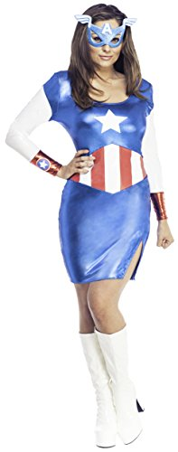 Secret Wishes Women's Marvel Universe Miss American Dream Costume Dress and Eye Mask