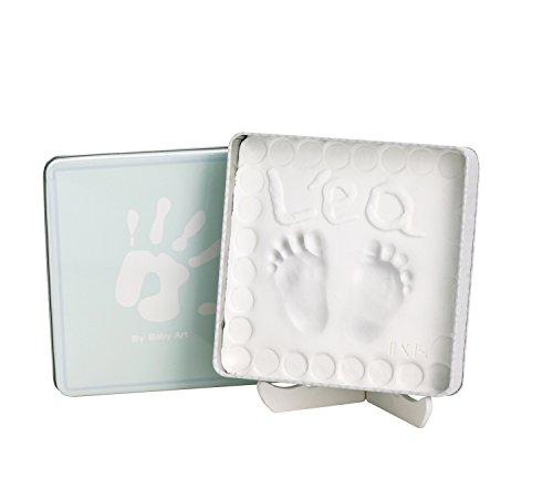 Baby Art - 34120136 - Magic Box - Confezione in metallo con pasta modellabile per calco delle manine o dei piedini bebè - Linea modern trendy