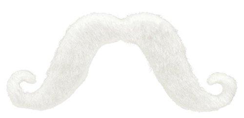 Team Spirit White Handlebar Adhesive Mustache Costume Accessory