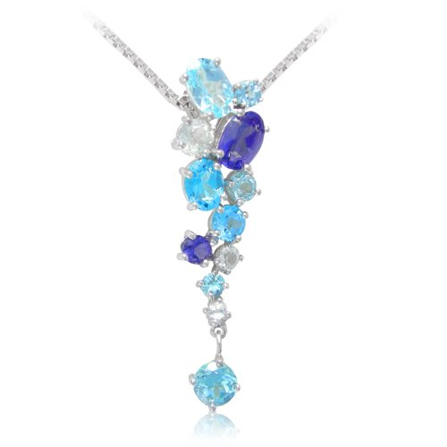 Sterling Silver Oval and Round Shaped Iolite, Swiss Blue Topaz, Light Blue Topaz and White Topaz Pendant Necklace , 18