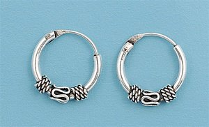 Bali Hoop Earrings - 14 mm x 3 mm