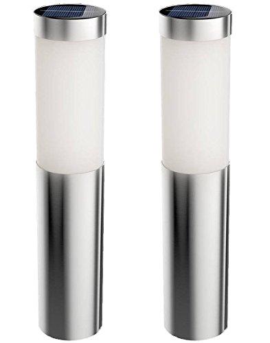 Artika-I6-LED-Stainless-Steel-Solar-Bollard-Lights-6-LED-17-Lumens-Per-Light-Set-of-2