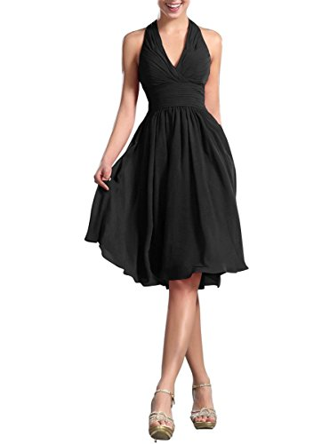 Apparelover Womens V-neck Dress Black