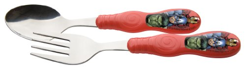 Zak Designs Avengers Assemble Easy Grip Flatware Set, Includes Spoon And Fork