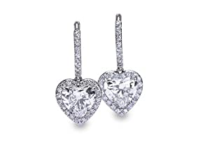 Diamond Heart Shape Drop Earrings Platinum