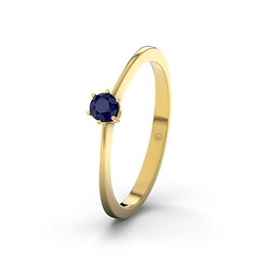 21DIAMONDS Ladies Auckland Engagement Ring Blue Sapphire Princess Cut 18 K Yellow Gold Engagement Ring