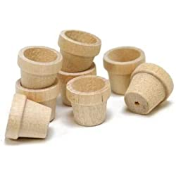 Package of 48 Miniature Unfinished Wood Flower Pots for Crafting, Creating and Embellishing