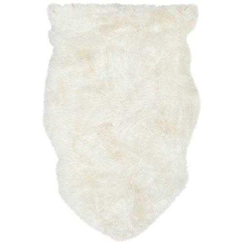 Safavieh Sheep Skin Collection SHS211A Handmade White Sheepskin Area Rug, 2 feet by 3 feet (2' x 3')
