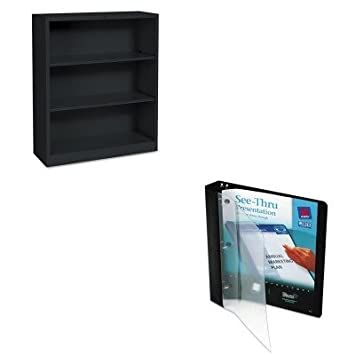 KITAVE10852HONS42ABCP - Value Kit - Avery See-Thru Binder with Round Ring (AVE10852) and The HON Company HON Brigade 3-Shelf Steel Bookcase, Black (HONS42ABCP)