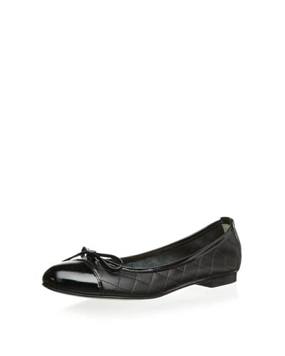 Butter Women's Barney Quilted Ballet Flat  - Black Leather