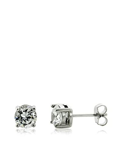 Bronzo Lusso 3-Cttw. CZ Round Stud Earrings, Silver