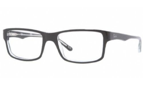 Ray-Ban Men's Rx5245 Square Eyeglasses,Top Black & Transparent,52 mm