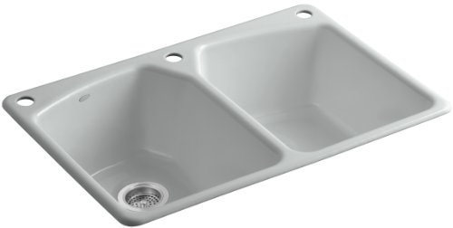 Kohler K-6491-3-95 Tanager Self-Rimming Kitchen Sink with Single-Hole Faucet Drilling and Two Accessory Holes, Ice Grey