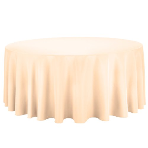 Linentablecloth Round Polyester Tablecloth, 132-Inch, Cantaloupe front-513104