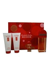 Red Door 4 Piece Gift Set for Women 3.3 oz. EDT Spray, 3.3 oz. Perfumed Body Lotion, 3.3 oz. Bath , Shower Gel, 10ml EDT Spray Mini
