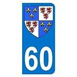 Autocollant 60 avec blason Picardie plaque immatriculation Moto (6,3 x 2,9 cm)...