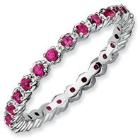 0.61ct Sophisticated Silver Stackable Ruby Ring Band. Sizes 5-10