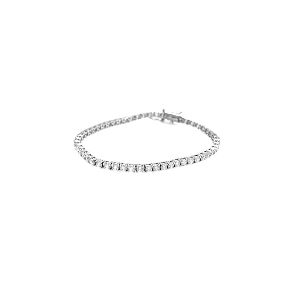 Tressa Sterling Silver Colorless White Round Cut Cubic Zirconia .925 Stamp Hypoallergenic Tennis Bracelet