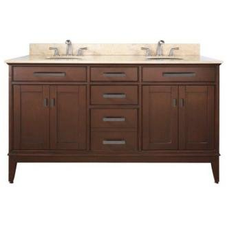 "Madison Tobacco 61"" Wide Marble Top Sink Vanity front-1053701"