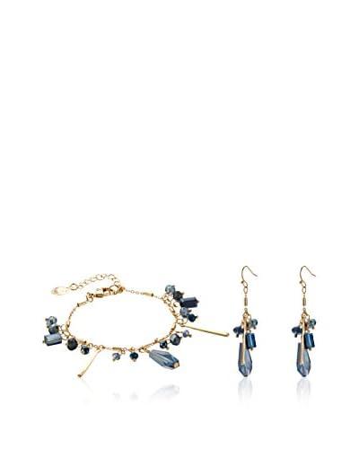 Inori Conjunto de pulsera y pendientes  Oro Amarillo / Azul