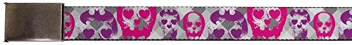 Batman DC Comics Superhero Argyle Heart Skull Logos Web Belt Chrome