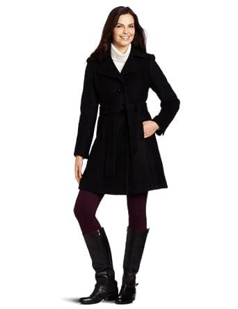 AK Anne Klein Women's Xenia Coat, Black, X-Large