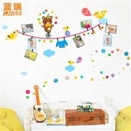Naughty Cartoon Bears Photo Frame Children'S Baby Nursery Kids Bedroom Plain Decal Stickers front-62458