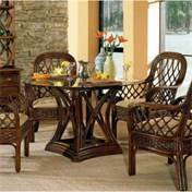 "Boca Rattan Regency Dining Table in Urban Mahogany with 48"" Dia Beveled Glass Top 81013REG"