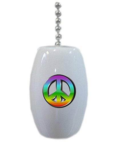 Peace Sign Ceramic Fan Pull front-607200