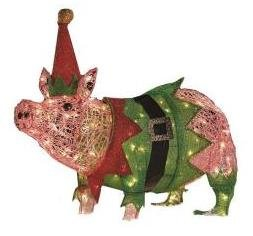 Christmas outdoor decorations lawn lights for Pig decorations for home