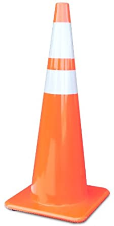 """Lakeside 3650-10-MM Tri-Glo PVC Traffic Safety Cone with 6"""" and 4"""" 3M Collar, 15-1/4"""" Base Width x 36"""" Height, Orange (Carton of 4)"""