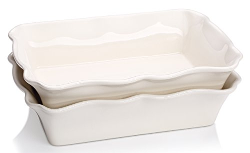 Lifver 2-pack Ceramic Deep Rectangular Baking Dish/Roasting Lasagna Pan, Off-white