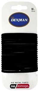 Denman 71014-D - Gomas para el pelo (18 unidades), color negro