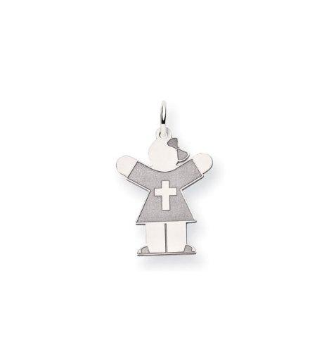 14k White Gold Girl Dress Cross Religious Charm Pendant