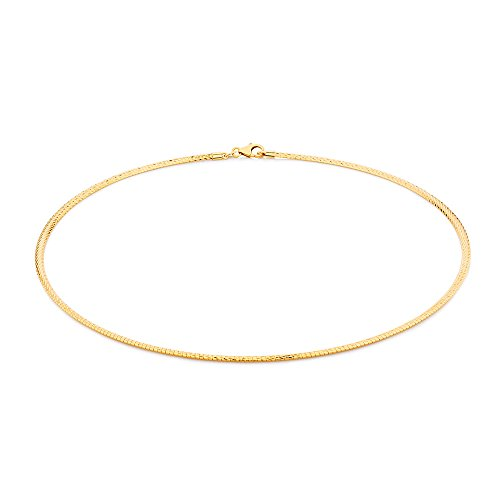 2mm thick 14k gold plated on solid sterling silver 925 stamped Italian Omega snake link chain necklace chocker with lobster claw clasp jewellery jewelry - Available in lengths: inch 12