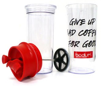 Bodum 16-Ounce Travel Coffee Press with Bodum Logo - Red