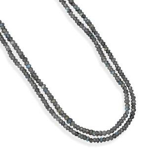 Double Strand Faceted Labradorite Bead Necklace Adjustable Length
