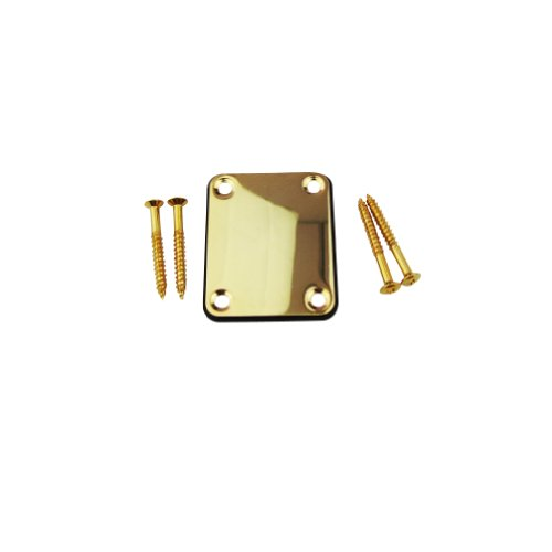 Musiclily Chrome Metal Electric Guitar Neck Plate With Screws For Fender Strat Tele Guitar Replacement , Gold