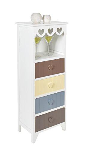 Mobiletto in bianco con cuori decorativi, con 4 cassetti colorati e un vano aperto