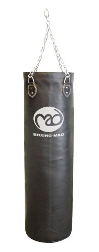 Boxing-Mad Club Pro Leather Punch Bag 120cm x 35cm - Black