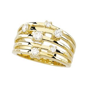 14k Yellow Gold Right Hand Rough Diamond Ring 1/2ct - Size 6 - JewelryWeb