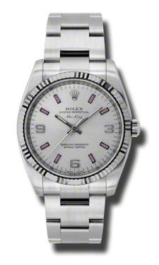 Rolex Airking Silver Arabic Pink Stick Dial Fluted 18kt White Gold Bezel Oyster Bracelet Mens Watch 114234SAPSO