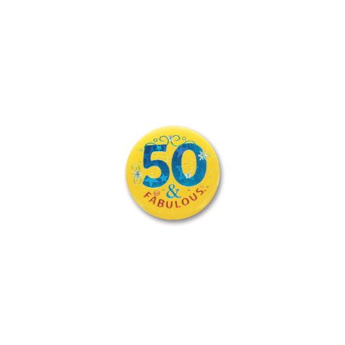 "50 And Fabulous Satin Button 2"" Party Accessory"