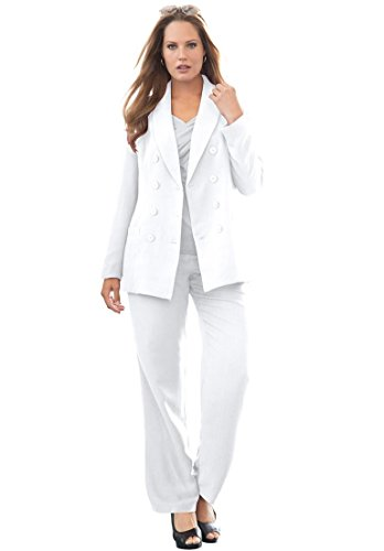 ce62a0aa2c3 Jessica London Women s Plus Size Double-Breasted Pantsuit White