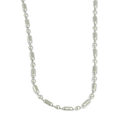 Rosallini Silver Tone Core Bead Connected Metal Chain Necklace for Man