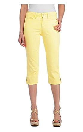 NYDJ Womens Nanette Stretch Crop Colored Denim Capri Jean 12 Buttercream